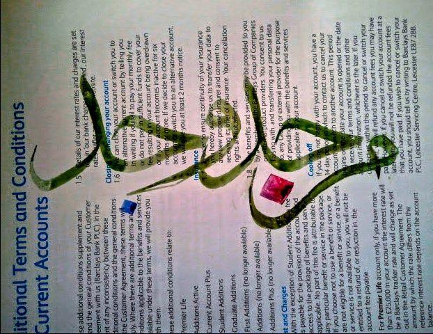 تمرين خط الثلث على ورق المصرف باركليز - من جد وجد \ exercising thulth  calligraphy on barclays terms and conditions