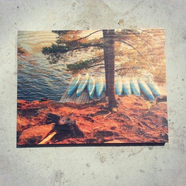 Canoe print on fir plywood