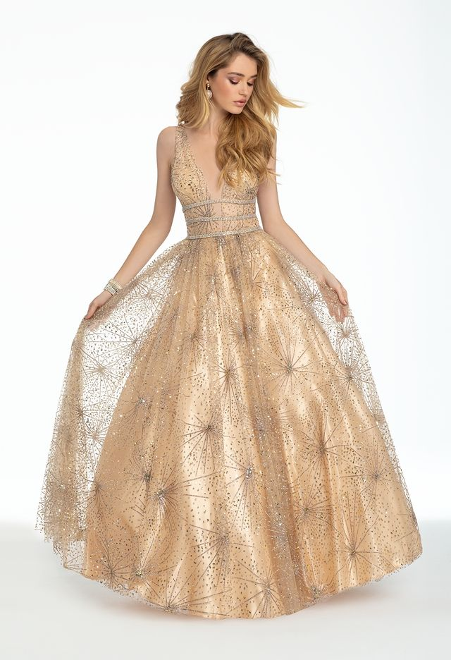 019409f3a1b7 You'll have them starstruck in this starburst ball gown prom dress!  Complement the plunging neckline on this sleeveless long evening dress with  dainty ...