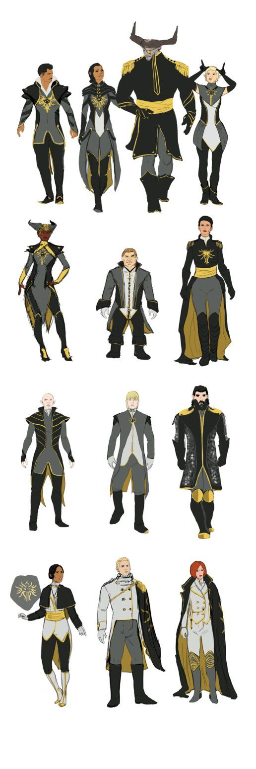 Inquisition Formal Outfits by jadenwithwings -These are perfect. I would of loved these instead of those hideous nutcracker outfits.