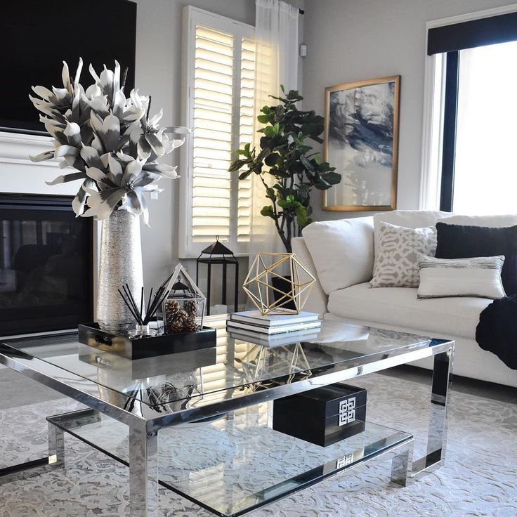 Beautiful Living Room I Love The White And Black Theme It Has Coffee Table Flowers And V Black Living Room Table Decor Living Room Modern White Living Room