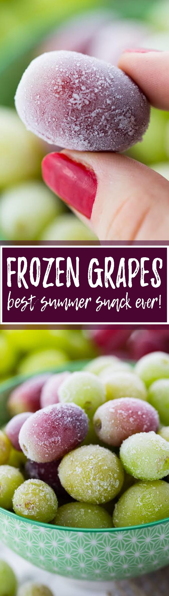 Frozen grapes are the best vegan snack ever! They taste just like frozen candy and are so healthy and refreshing, especially in the summer! One of my favorite vegan desserts, such a healthy snack! <3 | veganheaven.org
