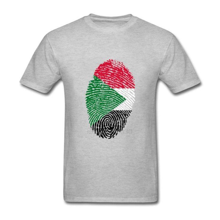 Classal Adult Sudan Flag Fingerprint Casual Shirts Mens Crewneck Short Sleeve T Shirt Men Tee Shirts Camisetas #Affiliate
