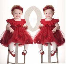 Bebês infantil criança flor meninas vestidos para festa de casamento rosa vermelha princesa vestido + headwear vestido de festa para bebe(China (Mainland))