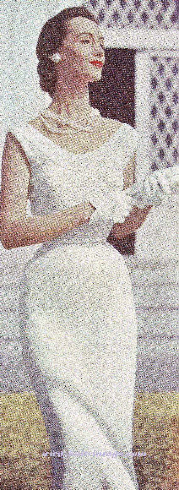 Vintage Vogue schede jurk met parels breien door VintageKnitStore