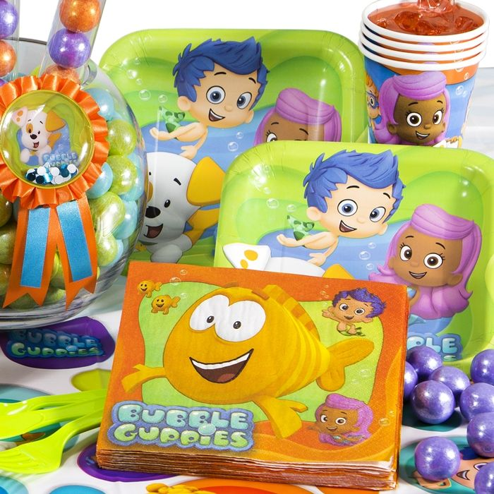 Float Over for Some Bubble Guppies Birthday Party FunYour little swimmer is ready to celebrate with Bubble Guppies Birthday Decorations.  Mermaids are playful and full of joy just like the guest of honor!  These festively colored themed party supplies feature gentle blues and greens along with images of your favorite pals like Molly, Gil, and, of course, the adorable Bubble Puppy.  The mermaid pals swimming happily along on these sweet Bubble Guppies birthday party supplies and decorations…