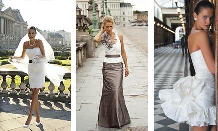 een trouwjurk hoeft tegenwoordig niet meer wit te zijn. Wit-grijze is bijvoorbeeld een superchique combi. Ook de lengte mag mee gespeeld worden. Ben je niet zo van de lange jurken, ga dan voor een pittige minidress and show of some legs!