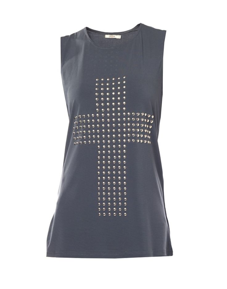 CRAVE   Cross Embellished Top in Grey - Women - Style36  #RihannaStyle36