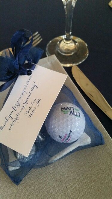 Golf themed wedding favor idea.  See more golf wedding favors at one-stop-party-ideas.com