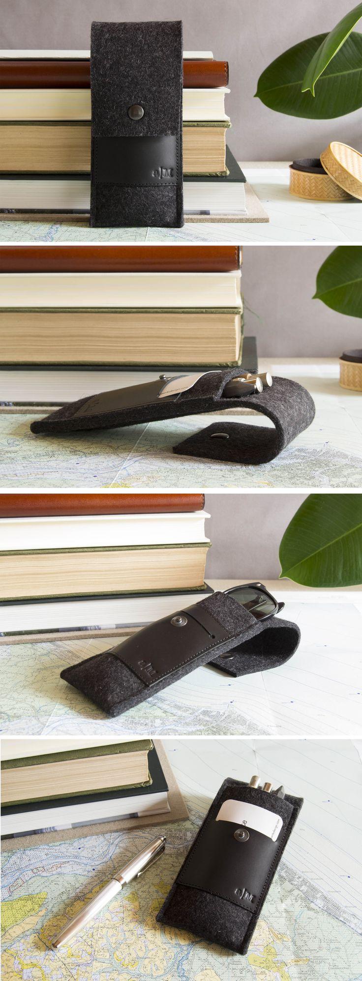 A stylish pencil case made of wool felt and real leather #woolfelt #felt #vegetabletannedleather #madeinitaly #penholder #glassescase #feltcase