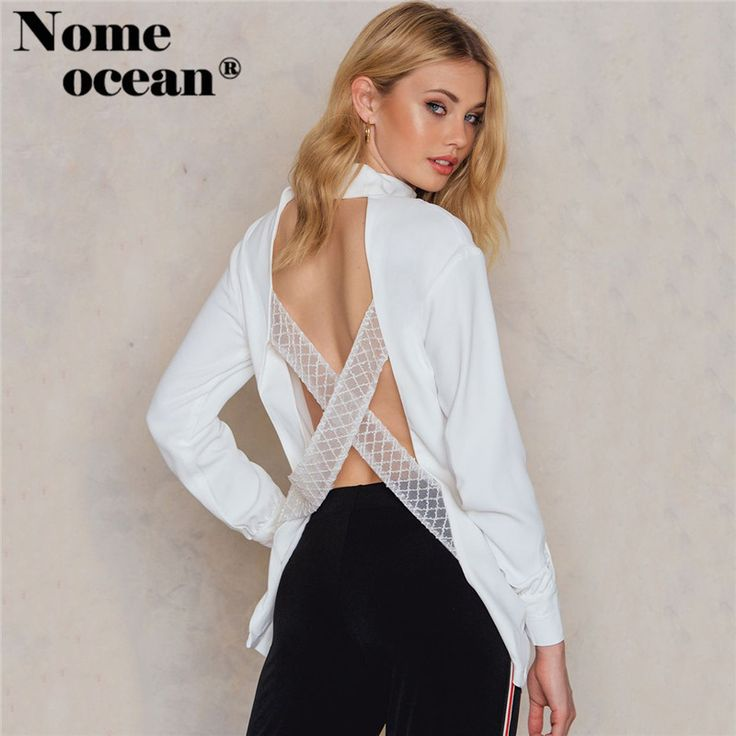 Find More Blouses & Shirts Information about Lace Strap Backless Fly Away Women Shirts 2017 Autumn Long Sleeve Blouses Choker Detail V neck OL Shirt White Tops M17110705,High Quality Blouses & Shirts from Boutique, Big  Bang  on Aliexpress.com