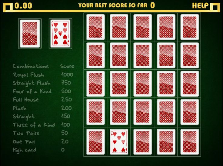 The game of Poker Solitaire will combine your poker knowledge and skills in an exceptionally challenging game of solitaire. As the cards are dealt one at a time from the deck, you need to place them on the screen to try and create the best possible combination of poker hands in each row and column. In Poker Solitaire you will be scored on hands running both horizontally and vertically and this is where the REAL challenge comes in.