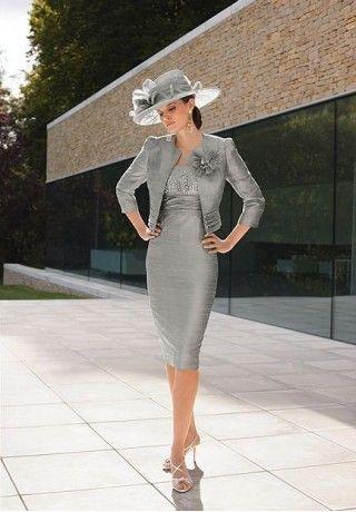 Custom made versandkostenfrei 2014 mantel blumenkleid neue billige Knie- lengthtaffeta silber formale hochzeit mutter der braut kleider