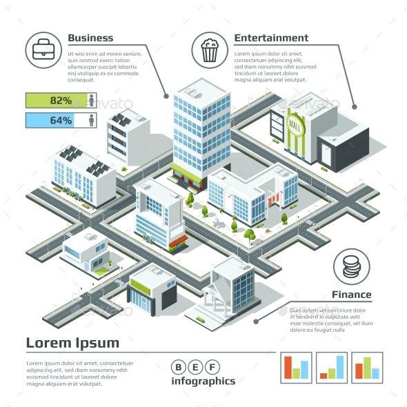 Isometric 3d City Map 로고 아이디어 그래픽 디자인 포스터