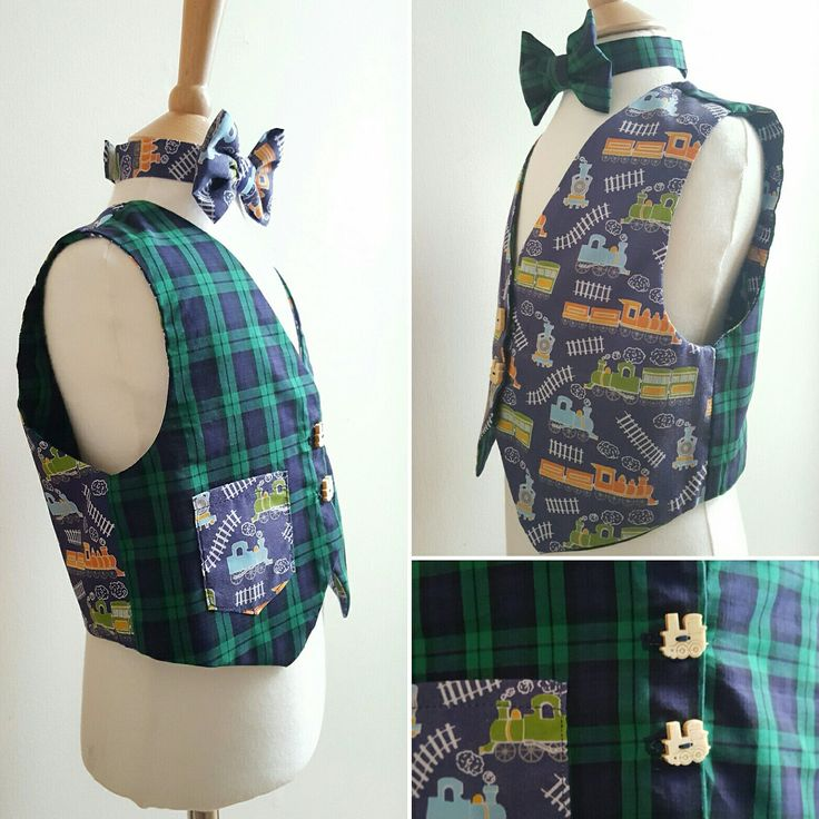 Did you know we make custom orders too? You can have something designed for your little tot to suit a special occasion, season or event! This gorgeous reversible tartan/ train waistcoat was made for a train mad little boy. Contact us now for more details!