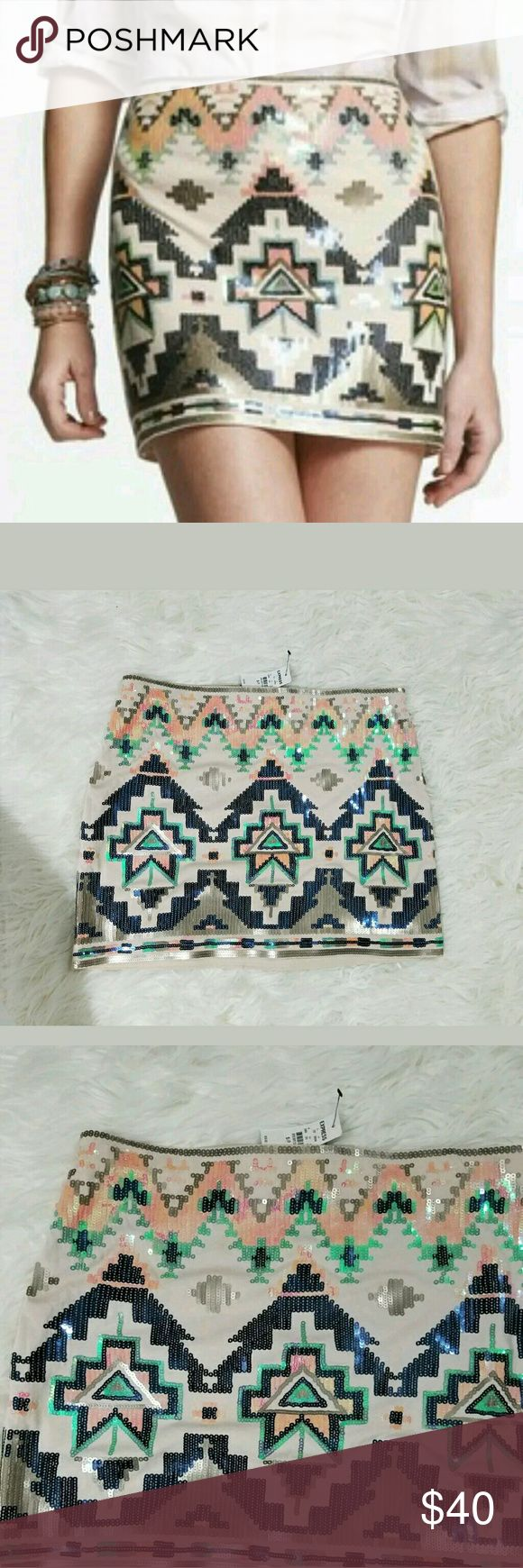 NWT Express Stretch Aztec Sequin Mini Skirt Cute skirt!   29 inch waist (plus stretch).  14.75 inches long.   LB Express Skirts Mini