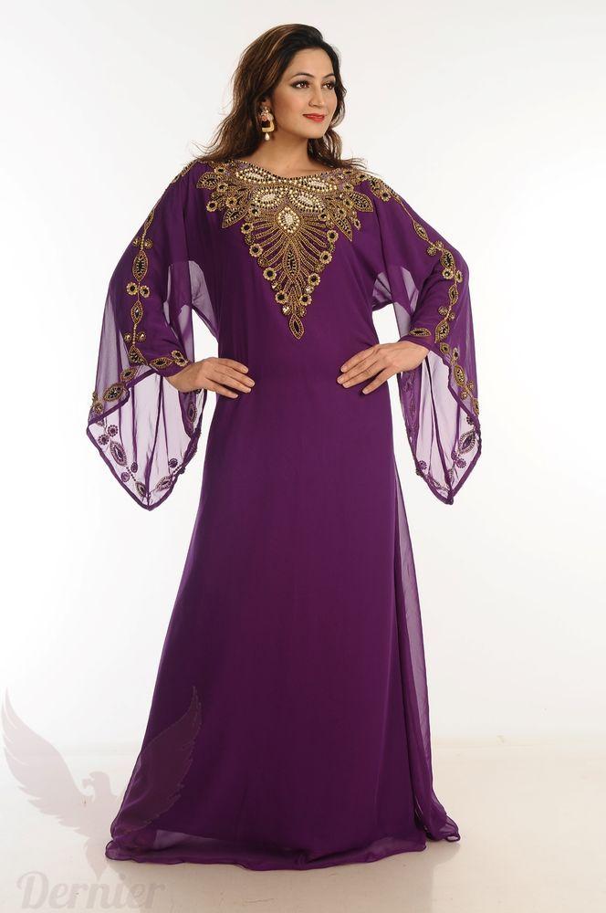 Womens Long Kaftan Dubai Abaya Arabian Wedding Farasha Jalabiya Gown Dress   E28  9477b5f9ab9