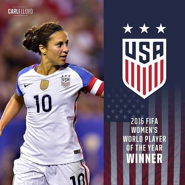 BACK-TO-BACK! Carli Lloyd is the 2016 FIFA Women's Player of the Year!