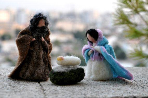 Belén de fieltro de la aguja. Natividad conjunto 3 por darialvovsky