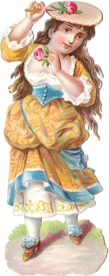 Oblaten Glanzbild scrap die cut chromo Kind child girl enfant  Fächer fan rose