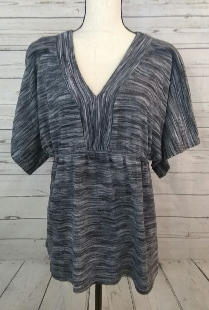 Cato Women's XL Shirt Black Grey Short Sleeve Top Pullover V Neck Stretch Xlarge #Cato #PullOver #Any
