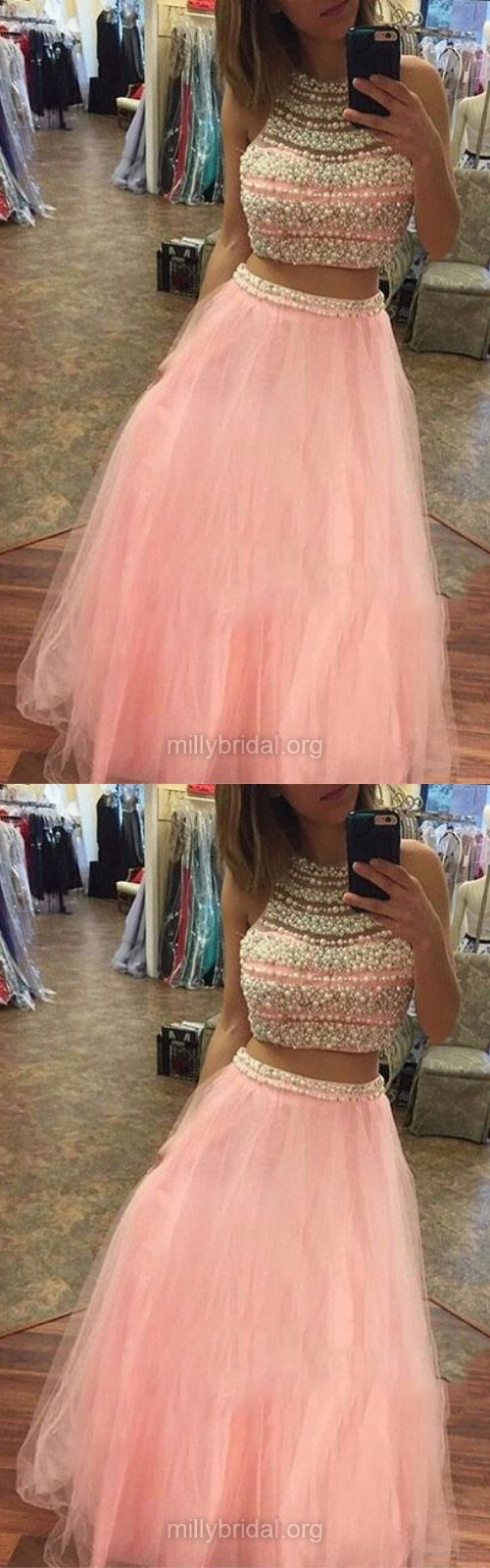 Pink Prom Dresses Two Piece, 2018 Formal Party Dresses Cheap, Long Evening Dresses A-line Scoop Neck, Tulle  Pearl Detailing Pageant Dresses Modest