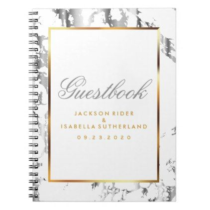 Silver Marble Gold  White  Guestbook Notebook  Pattern Sample