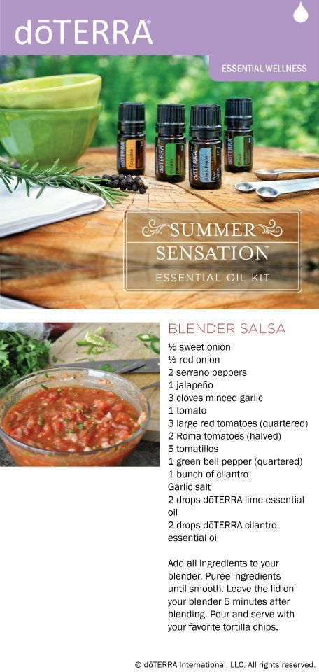 Aaaahh… What's better than fresh salsa with all those wonderful fresh ingredients? And, even better… look how easy this is! This doTERRA blender salsa recipe is so easy. Just put it all in the blender and VOILA! Tasty salsa – right before your eyes! Break out the chips and enjoy… doTERRA Blender Salsa Recipe …