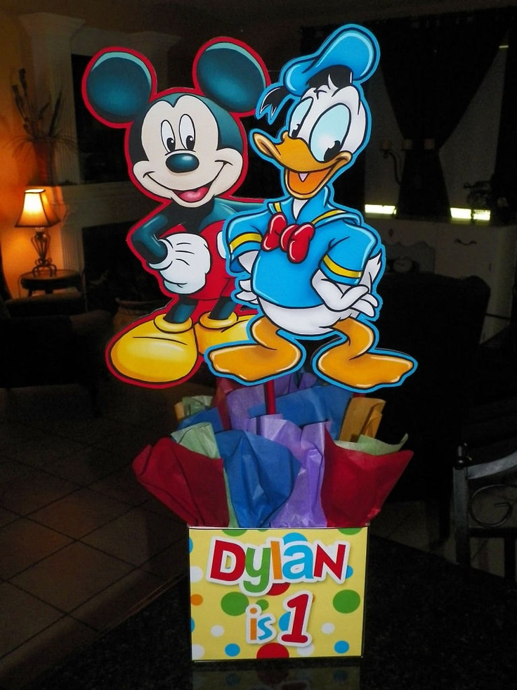 "DIY 12"" Small Mickey Mouse Birthday Party Centerpieces 1st birthdaiy Baby Shower Clubhouse Minnie Goofy Donald Centerpiece. $10.00, via Etsy."