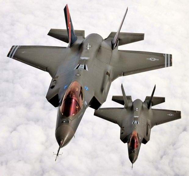 Lockheed Martin F-35A Lightning II joint strike fighter formation.