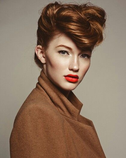 Ottolino Photography. Pompadour. Orange lip. Lipgloss. Lips. Collar. Coat. Caramel. Red hair. Updo. Hair. Makeup by Andrea C. Samuels.  Wardrobe by Abigail Lipp. Model Brianna of Factor Women.