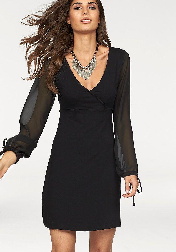 Melrose Jerseykleid mit Chiffon-Ärmeln ab 40,99€. Elegantes Tunika-Kleid von MELROSE, Mit transparenten Chiffon-Ärmeln bei OTTO
