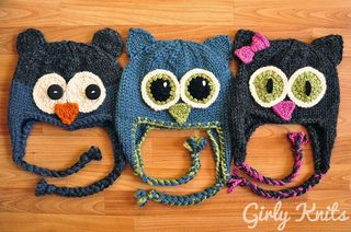 """Knitting Pattern Name: """"Owl Be There"""" Pattern by: Lauren Riker"""