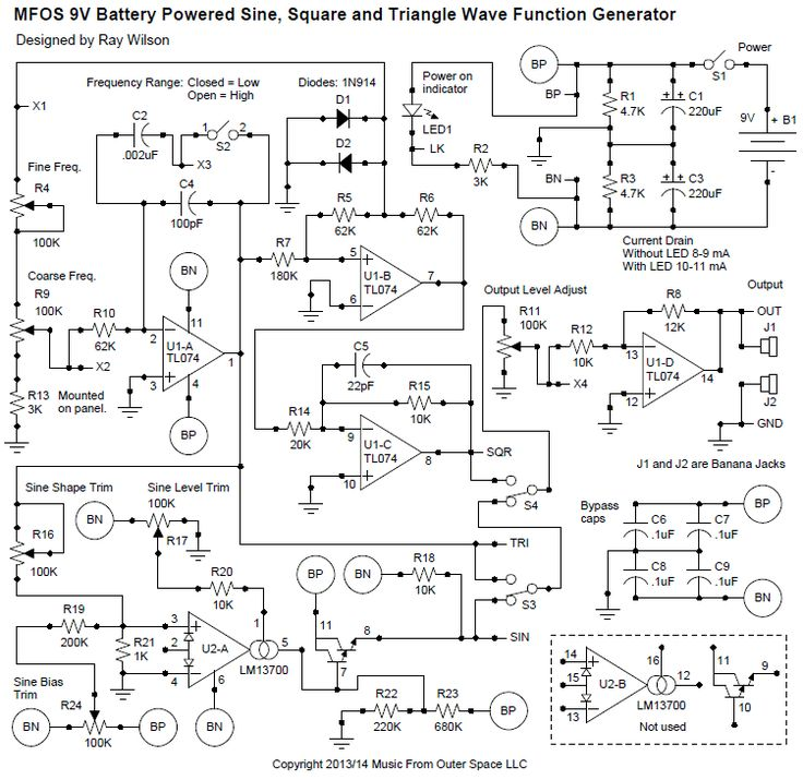 Often in synth-DIY trouble-shooting and/or circuit experimentation, a signal source with variable frequency and amplitude is just what you need to test a circuit's behavior. If the signal source has a variety of wave-shapes, it will serve in more scenarios. This article will present a 9V battery-powered function generator that outputs sine, square, and triangle waveforms. The frequency is adjustable from about 20 Hertz to about 11KHz and the output level can be varied from 0 to about...