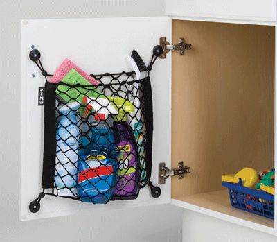 Add storage and keep  things in place with the cubby covers and nets.