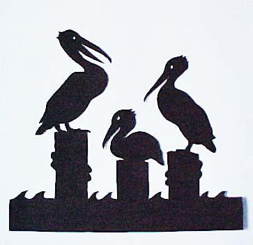 Three Pelicans silhouette cutting by Susan S. Hahn
