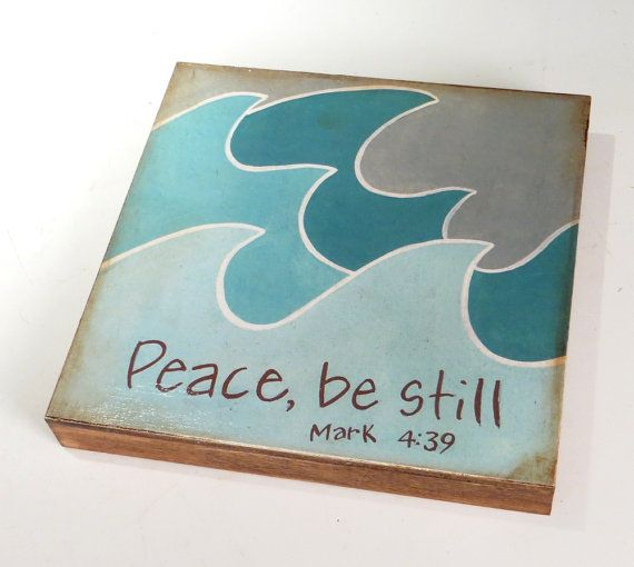 This would be so sweet in a nursery. Peace Be Still word art print Blue Ocean Wave Art Block hand made art via Etsy