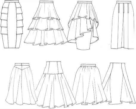 1940s teired flounce skirt patterns | Tiered frills, tiered flounces, asymmetrical with flounces, straight ...