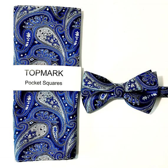 Bow Tie and Pocket Square Set Blue Paisley Grooms