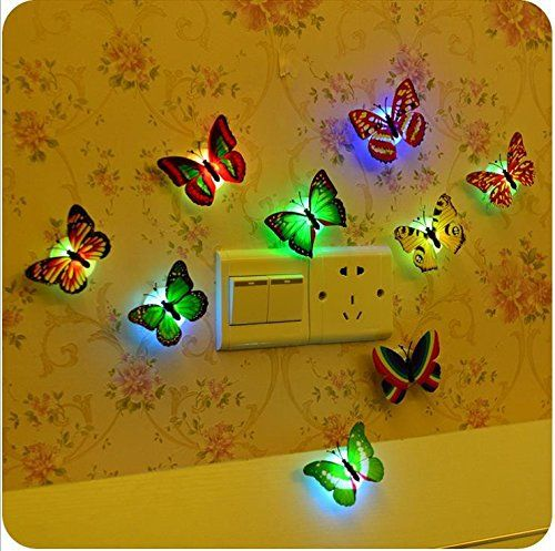 E Support 6 PCS Creative Flashing Colorful Butterfly Night Light Stickers Light Indoor lighting Decorations Random -- Check out the image by visiting the link. (Note:Amazon affiliate link)