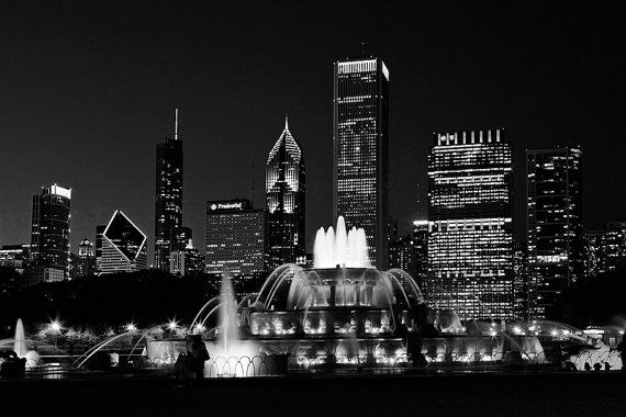 Chicago Skyline photography  Chicago Black by ClearFrameGallery