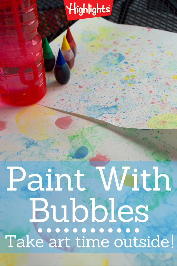 Take art time outside! Put your kids in their oldest clothes, grab the materials, and head outside for some bubble-art fun. Your kids will love to watch the colored bubbles as they float in the air—and also when they pop on the plain paper! The bubbles make beautiful prints too.