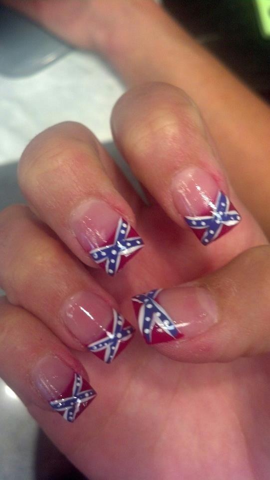 Magnificent Confederate Flag Nails Adornment - Nail Art Ideas ...