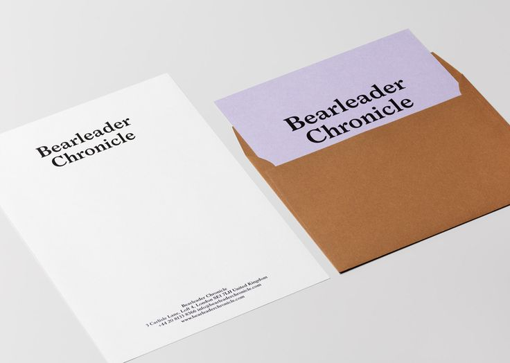 Branding, headed paper and envelope for online publisher Bearleader Chronicle by The Studio, Sweden