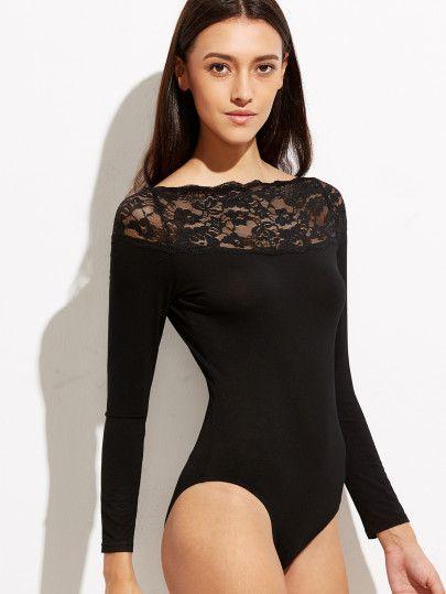 Black Floral Lace Neck Long Sleeve Bodysuit