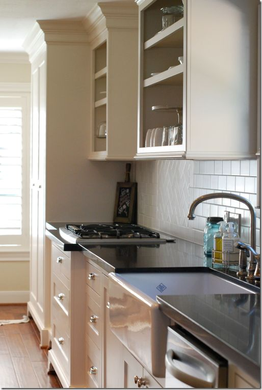 Shaw's Original Fireclay sink.  Counter is extended over the sink for easier cleaning.