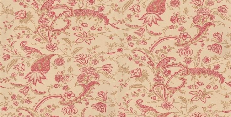 Parisienne (BT-PA-02) - The Art of Wallpaper Wallpapers - A charming easy flowing medium size desing that has been coloured to suit bedrooms and hallways. Showing in deep pink and gold on off white - other colour ways available. Please request a sample for true colour match.