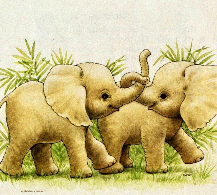 картинки мультяшных слонов семья плеч уныние боль