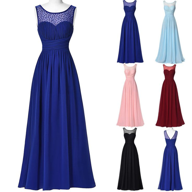 Plus Size Chiffon Long Evening Prom Party Masquerade Gown Wedding Cocktail Dress #Starzz #BallGown #Cocktail
