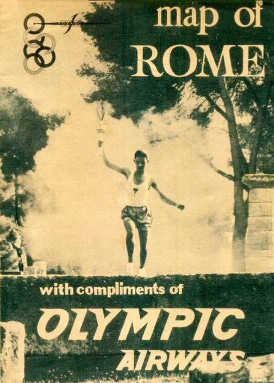 Olympic Airways Map of Rome with programme XVII OLIMPIADE ITALY 1960
